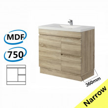 750x360x830mm NARROW Berge Bathroom Vanity Kickboard Freestanding White Oak Right Side Drawers PVC Filmed Cabinet ONLY & Ceramic/Poly Top Available
