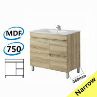 750x360x830mm NARROW Berge Bathroom Floor Vanity Freestanding White Oak Right Side Drawers PVC Filmed Cabinet ONLY & Ceramic/Poly Top Available