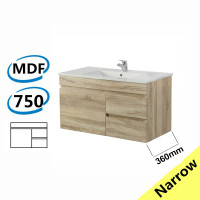 750x360x500mm NARROW Wall Hung Bathroom Floating Vanity White Oak Right Side Drawers Berge PVC Filmed Wood Grain Cabinet ONLY&Ceramic/Poly Top Available