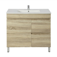 750x450x830mm Berge Bathroom Floor Vanity Freestanding White Oak Right Side Drawers PVC Filmed Cabinet ONLY & Ceramic/Poly Top Available