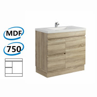 750x450x830mm Berge Bathroom Vanity Kickboard Freestanding White Oak Left Side Drawers PVC Filmed Cabinet ONLY & Ceramic/Poly Top Available