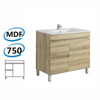 750x450x830mm Berge Bathroom Floor Vanity Freestanding White Oak Left Side Drawers PVC Filmed Cabinet ONLY & Ceramic/Poly Top Available