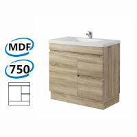 750x450x830mm Berge Bathroom Vanity Kickboard Freestanding White Oak Right Side Drawers PVC Filmed Cabinet ONLY & Ceramic/Poly Top Available