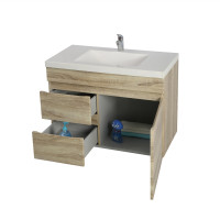 750x450x500mm Wall Hung Bathroom Floating Vanity White Oak Left Side Drawers Berge PVC Filmed Wood Grain Cabinet ONLY&Ceramic/Poly Top Available