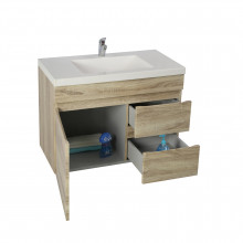 750x450x500mm Wall Hung Bathroom Floating Vanity White Oak Right Side Drawers Berge PVC Filmed Wood Grain Cabinet ONLY&Ceramic/Poly Top Available
