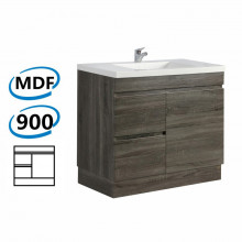900x450x830mm Bathroom Vanity DARK Grey Left Side Drawers Kickboard Wood Grain Berge PVC Filmed Cabinet ONLY&Ceramic/Poly Top Available