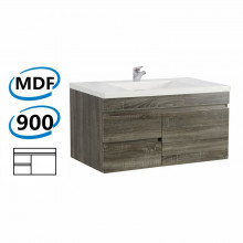 900x450x500mm Wall Hung Bathroom Floating Vanity DARK Grey Left Side Drawers Wood Grain Berge PVC Filmed Cabinet ONLY&Ceramic/Poly Top Available