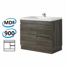900x450x830mm Bathroom Vanity DARK Grey Right Side Drawers Kickboard Wood Grain Berge PVC Filmed Cabinet ONLY&Ceramic/Poly Top Available