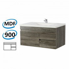 900x450x500mm Wall Hung Bathroom Floating Vanity DARK Grey Right Side Drawers Wood Grain Berge PVC Filmed Cabinet ONLY&Ceramic/Poly Top Available
