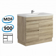 900x450x830mm Bathroom Vanity White Oak Left Side Drawers Kickboard Wood Grain Berge PVC Filmed Cabinet ONLY&Ceramic/Poly Top Available