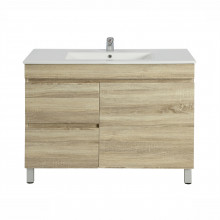 900x450x830mm Bathroom Vanity White Oak Left Side Drawers Freestanding Wood Grain Berge PVC Filmed Cabinet ONLY&Ceramic/Poly Top Available