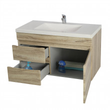 900x450x500mm Wall Hung Bathroom Floating Vanity White Oak Left Side Drawers Wood Grain Berge PVC Filmed Cabinet ONLY&Ceramic/Poly Top Available
