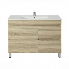 900x450x830mm Bathroom Vanity White Oak Right Side Drawers Freestanding Wood Grain Berge PVC Filmed Cabinet ONLY&Ceramic/Poly Top Available