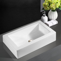 570x420x120mm Rectangle Gloss White Ceramic Above Counter Basin Bathroom Wash Basin
