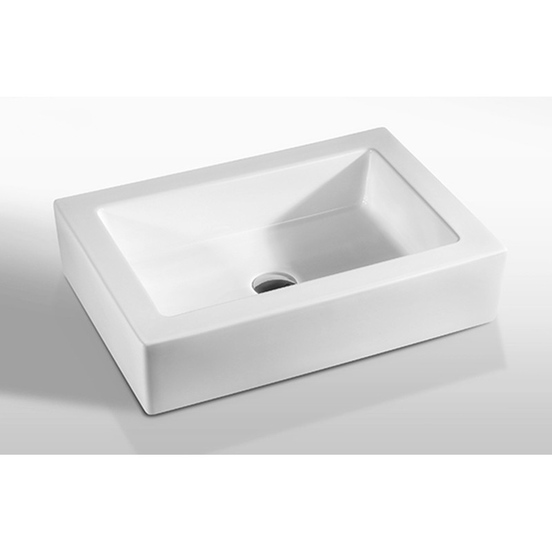 570x420x120mm Rectangle Gloss White Above Counter Basin