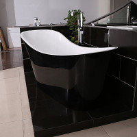 1700x730x835mm Bevel Freestanding Acrylic Gloss Black & Gloss White Bathtub Special Shape NO Overflow