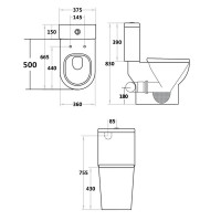 665x375x830mm Right or Left Hand Skew Trap Special Care Toilet Suite Tornado Flushing Ceramic Back Left and Right Bottom Inlet