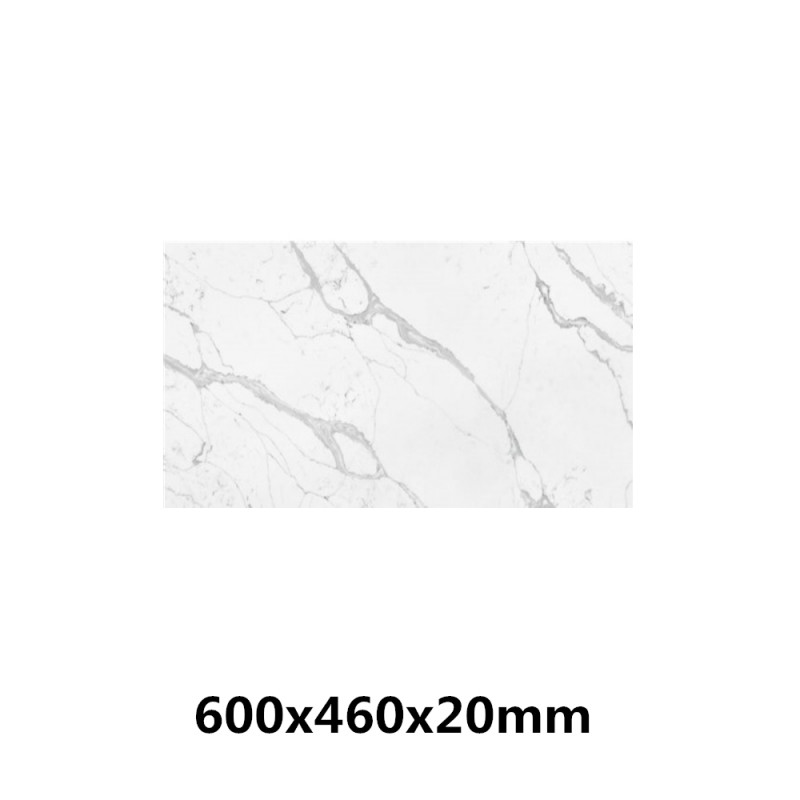 Stone top for above counter ceramic basins 600 750 900 1200mm x460x20mm Calacatta