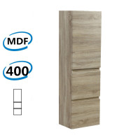 400Lx300Wx1350Hmm Berge Wall Hung Bathroom Vanity Tall Boy White Oak Wood Grain PVC Filmed