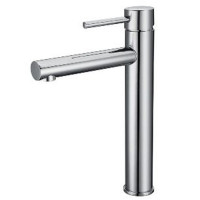 Solid Brass Round Chrome Tall Basin Mixer Vanity Mixer Tap