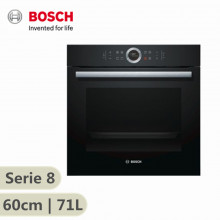 Bosch Serie 8 600mm Electric Built-In Oven Black Glass 71 Litres HBG633BB1B