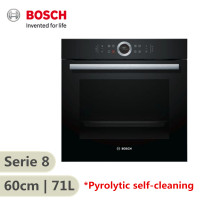 Bosch Serie 8 600mm Electric Built-In Oven Black Glass 71 Litres Pyrolytic Self-Cleaning HBG6753B1A