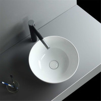 MACHO 325x325x140mm Round Gloss White Ceramic Above Counter Wash Basin