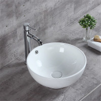 MACHO 380x380x150mm Round Above Counter Gloss White Ceramic Basin with Overflow