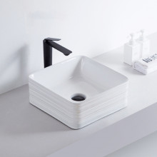 390x390x150mm Square Gloss White Above Counter Ceramic Wash Basin Textured Outside