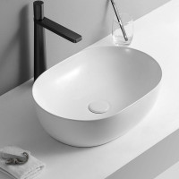 MACHO 490x355x130mm Oval Above Counter Gloss White Ceramic Basin Ultra Slim