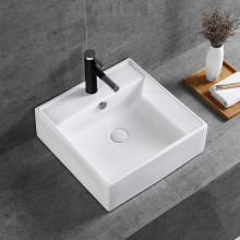MACHO 460x460x155mm Above Counter/Wall-hung Square White Ceramic Basin One Tap Hole