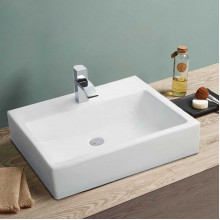 MACHO 520x360x120mm Rectangle Gloss White Above Counter/Wall Hung Ceramic Wash Basin With Tap Hole