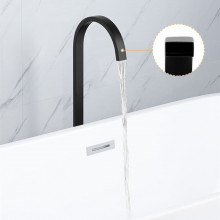 Square Black Stainless Steel Freestanding Bath Spout Floor Mounted