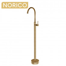 Norico Round Brushed Yellow Gold Solid Brass Freestanding Bath Spout with Mixer Floor Mounted