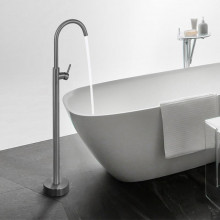 Norico Round Gunmetal Grey Solid Brass Freestanding Bath Spout with Mixer Floor Mounted