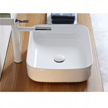 385x385x140mm Bathroom Square Above Counter White Ceramic Wash Basin
