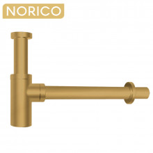 Norico Solid Brass Round Brushed Yellow Gold Basin Bottle Trap