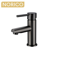 Norico Round Solid Brass Gunmetal Grey Basin Mixer Tap Bathroom Vanity Tap