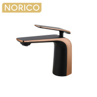 Norico Esperia Matt Black & Rose Gold Solid Brass Mixer Tap for basins