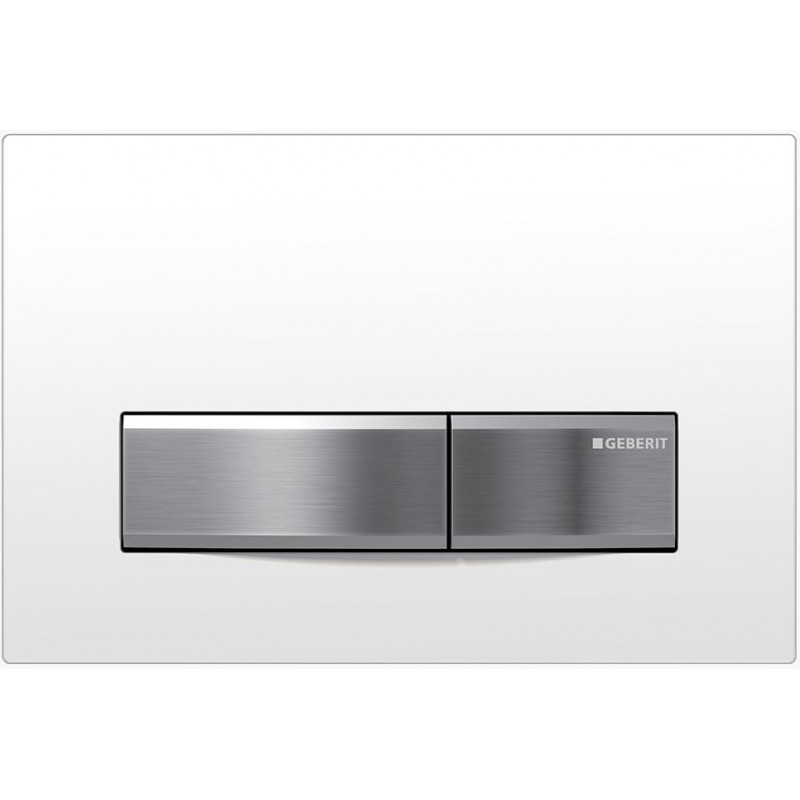 Geberit Toilet Cistern Push Wall Button White Glass Plate With Brushed Metal Button Sigma50KJ