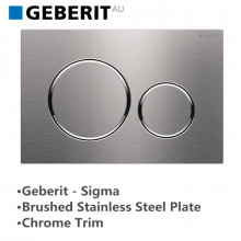 Geberit Toilet Cistern Push Wall Button Brushed Stainless Steel Plate With Chrome Trim Sigma20SN 115.882.SN.1