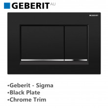 Geberit Toilet Cistern Push Plate Wall Button Black Surface Chrome Trim Sigma30KM 115.883.KM.1