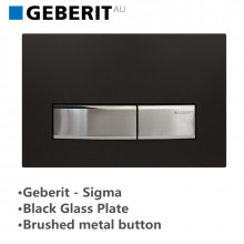 Geberit Toilet Cistern Push Plate Wall Button Black Glass Plate with Brushed Metal Button Sigma50DW 115.788.DW.5