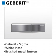 Geberit Toilet Cistern Push Wall Button White Glass Plate With Brushed Metal Button Sigma50KJ 115.788.11.5