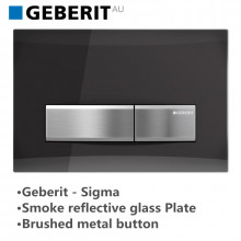 Geberit Toilet Cistern Push Plate Wall Button Smoke Reflective Glass Surface with Brushed Metal Button Sigma50SD 115.788.SD.5