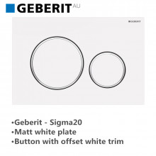 Geberit Matt White Push Plate Wall Button White Trim for Toilet Cistern Sigma20MW 115.882.01.1