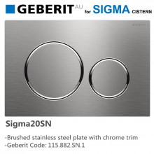 Geberit Sigma20SN Toilet Button Brushed Stainless Steel Plate Chrome Trim for Concealed Cistern 115.882.SN.1