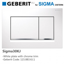 Geberit Sigma30KJ Toilet Button White Plate with Chrome Trim for Concealed Cistern 115.883.KJ.1