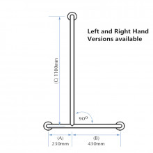 Assist Right Hand Shower Grab Rail 660x1100mm Ambulant Accessories Special Needs Stainless Steel 304