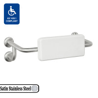 40mm Satin Stainless Steel Back Rest with Dual Wall Joint and Thick White PUR Frame for Handicap or Disabled on toilet